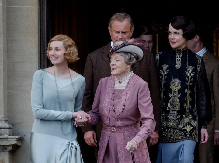 "Hugh Bonneville, Laura Carmichael, Maggie Smith and Elizabeth McGovern in ""Downton Abbey."""