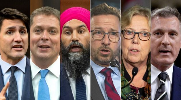 From left to right: Justin Trudeau, Andrew Scheer, Jagmeet Singh, Yves-François Blanchet, Elizabeth May,...