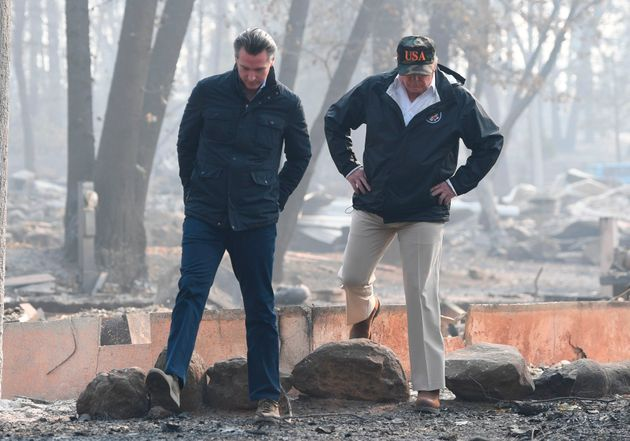 President Donald Trump and then-Lieutenant Gov. Gavin Newsom take a tour through Paradise 10 days after...