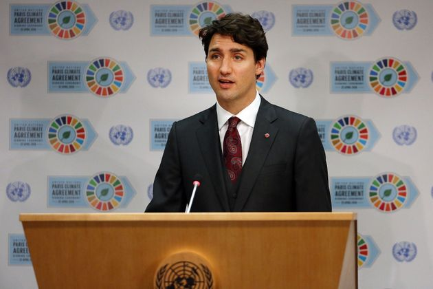 Liberal Leader Justin Trudeau speaks at the United Nations signing ceremony for the Paris Agreement on...