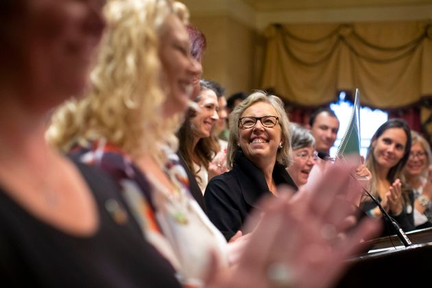 Green Party Leader Elizabeth May attends the launch of her party's election platform in Toronto, Sept....