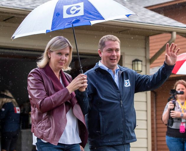 Scheer and his wife Jill campaigning  in Surrey, B.C. on Sept. 15,