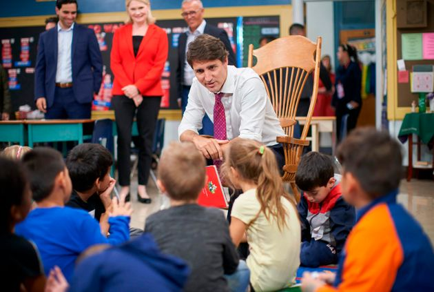 Liberal Leader Justin Trudeau reads a story to students at Blessed Sacrament Catholic Elementary School...
