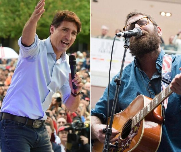 Liberal Leader Justin Trudeau, left, is using a song by Canadian band The Strumbellas for his campaign....