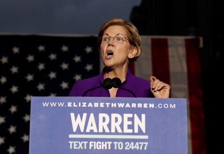 Elizabeth Warren, a Massachusetts senator running for the Democratic presidential nomination, speaks at Washington Square Par