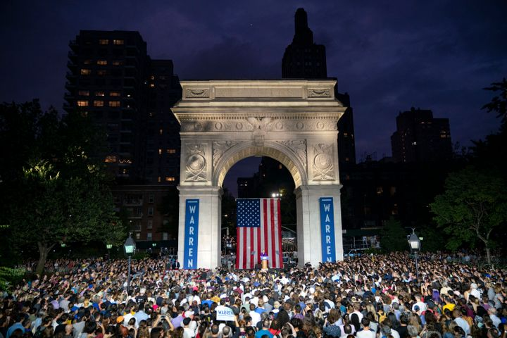 "Sen. Elizabeth Warren (D-Mass.) stood under the Washington Square Park arch named for George Washington, but insisted, ""We&rs"