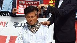 김문수 전 지사가 '조국 사퇴' 주장하며 삭발을