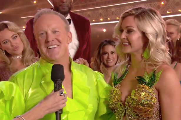 """Sean Spicer preens after his inaugural """"Dancing With the Stars"""" performance with partner Lindsay Arnold."""