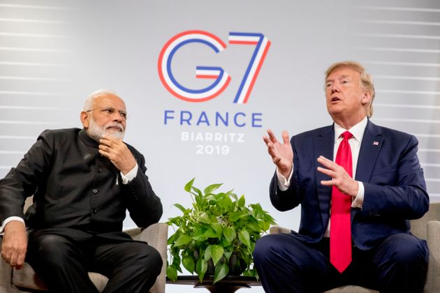 President Donald Trump, with Prime Minister Narendra Modi during a bilateral meeting at the G-7 summit...