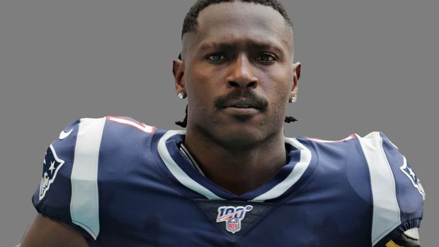 Antonio Brown headshot, as New England Patriots wide receiver, graphic element on gray