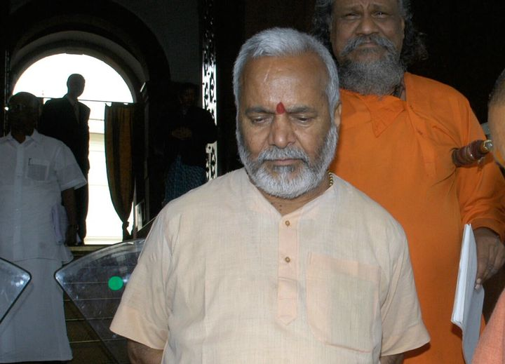BJP leader Swami Chinmayanand at Parliament House in New Delhi.