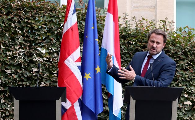 Luxembourg's Prime Minister Xavier Bettel speaks during a news conference after his meeting with British...