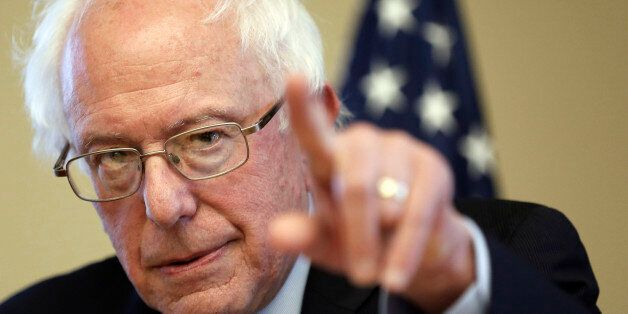 Democratic presidential candidate Sen. Bernie Sanders, I-Vt, speaks during a campaign stop at the William...