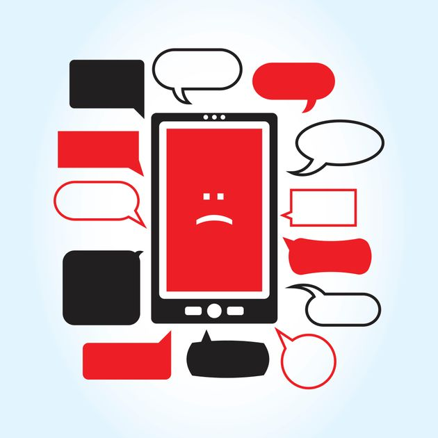A vector illustration with a smartphone displaying a sad face icon surrounded by a series of mean looking...