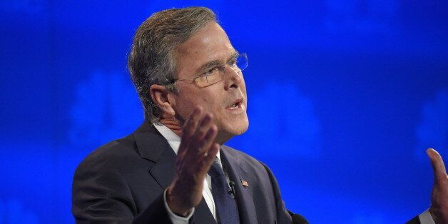 Jeb Bush speaks during the CNBC Republican presidential debate at the University of Colorado, Wednesday,...
