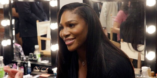 Serena Williams speaks to reporters after presenting the Serena Williams Spring 2016 collection during...
