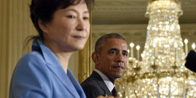 President Barack Obama and South Korean President Park Geun-hye take part in a joint news conference...
