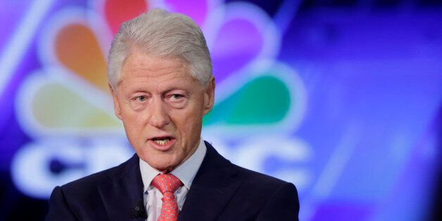 Former President Bill Clinton is interviewed by Becky Quick of CNBC at the Clinton Global Initiative...