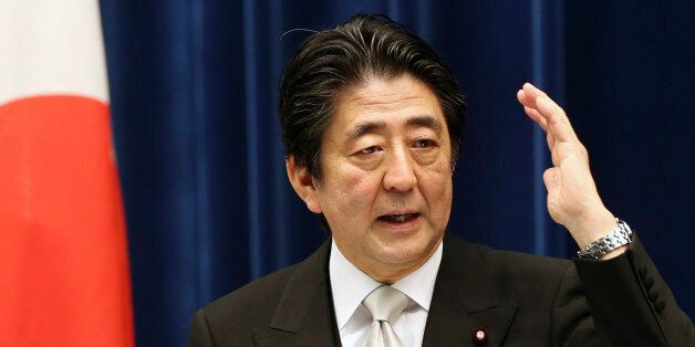 Japanese Prime Minister Shinzo Abe speaks during a press conference at the prime minister's official...