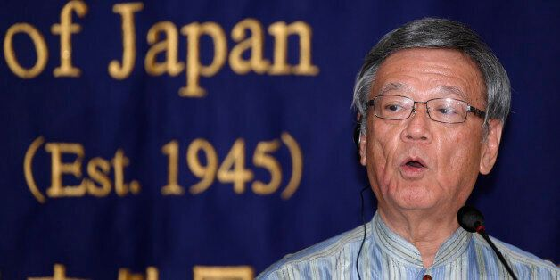 Okinawa Gov. Takeshi Onaga speaks during a press conference at the Foreign Correspondents' Club of Japan...