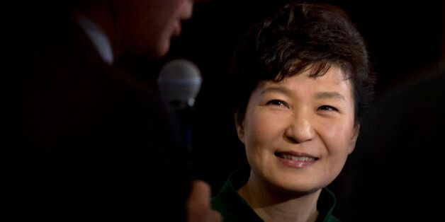 South Korean President Park Geun-hye smiles after speaking to the U.S. Chamber of Commerce and the U.S.-Korea...
