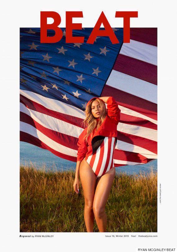 비욘세가 '비트' 매거진 표지에서 미국 국기 수영복을