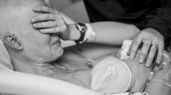 유방암과 싸우던 엄마가 아기에게 젖을 먹인
