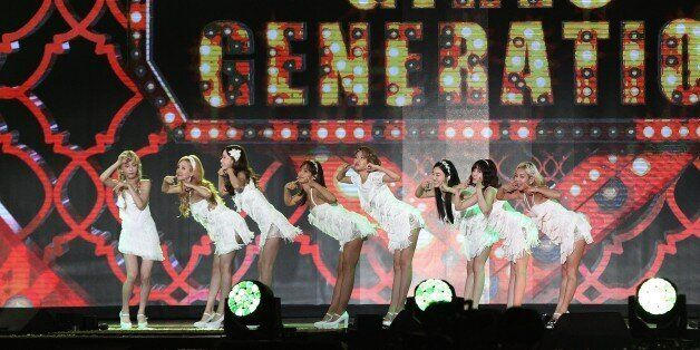 South Korean pop group Girls' Generation performs on the stage during the K-Pop Super Concert in Seoul,...