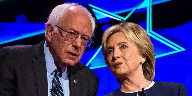 LAS VEGAS, NV - October 13: Bernie Sanders and Hillary Clinton pictured at the 2015 CNN Democratic Presidential...