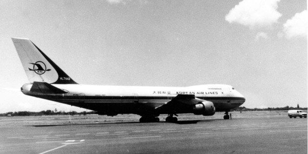This is a general view of the Korean Boeing 747 passenger plane on the runway at Hawaiian airport in...