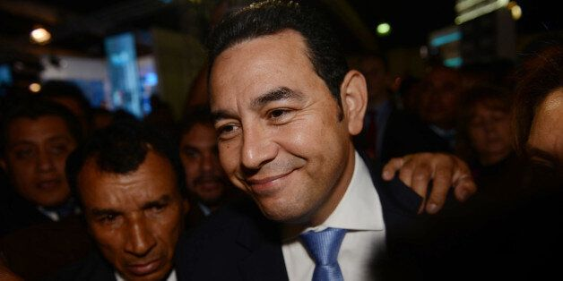 Jimmy Morales, the National Front of Convergence party presidential candidate, arrives to the Electoral...