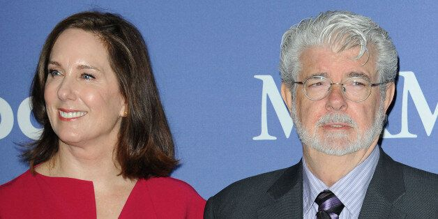 Kathleen Kennedy, at left, and George Lucas arrives at Women in Film's 2013 Crystal + Lucy Awards at...