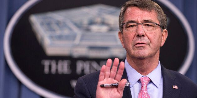 Defense Secretary Ash Carter speaks to reporters during a news conference at the Pentagon, Wednesday,...