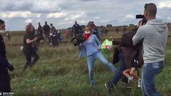난민 발로 찼던 헝가리 카메라우먼, 난민과 페이스북을 모두