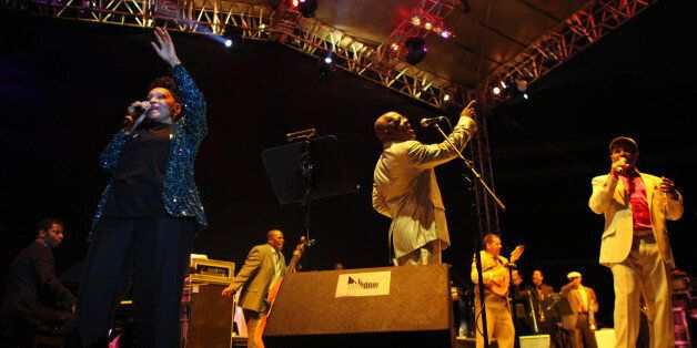 Cuba's singer Omara Portuondo, left, performs with Buena Vista Social Club at the Plaza de Toros Mexico...