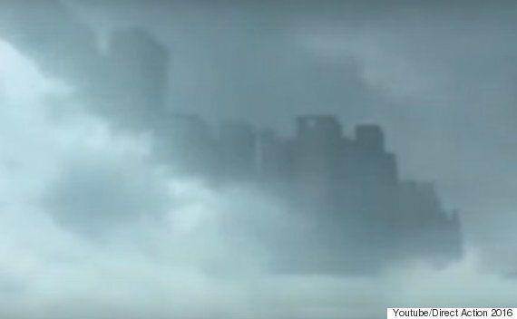 중국에 나타난 하늘에 떠 있는 도시의