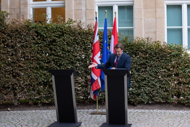LUXEMBOURG, LUXEMBOURG - SEPTEMBER 16: Luxembourg Prime Minister Xavier Bettel speaks to the media following...