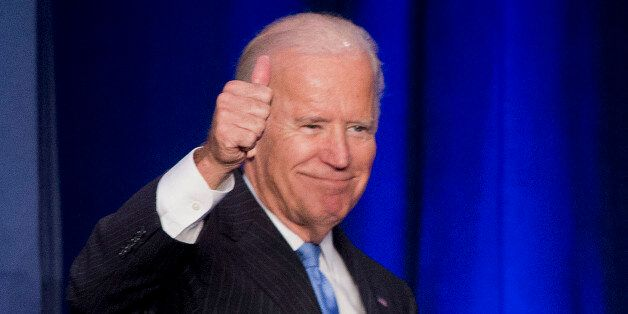 In this Sept. 22, 2015, photo, Vice President Joe Biden gives a 'thumbs-up' after speaking at the White...