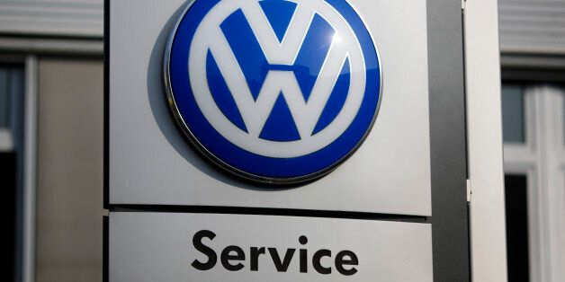 The VW sign of Germany's car company Volkswagen is displayed at the building of a compsny's retailer...