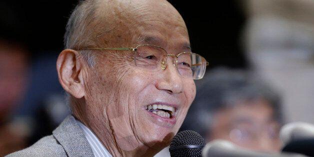 Kitasato University Prof. Emeritus Satoshi Omura smiles as he speaks during a press conference at the...