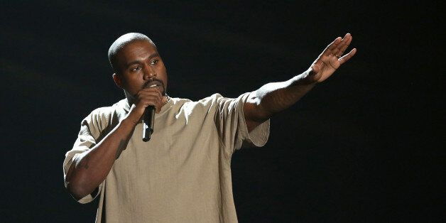 Kanye West accepts the video vanguard award at the MTV Video Music Awards at the Microsoft Theater on...