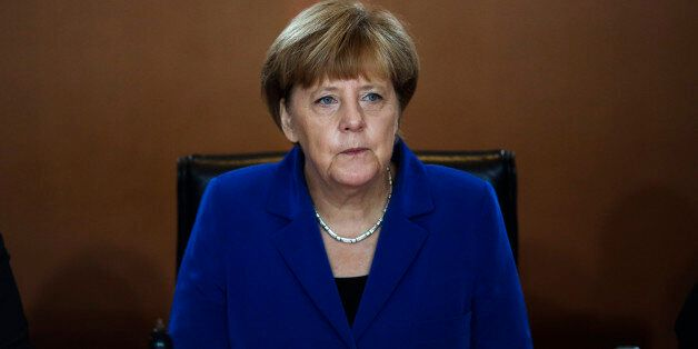German Chancellor Angela Merkel leads the weekly cabinet meeting at the chancellery in, Berlin, Germany,...