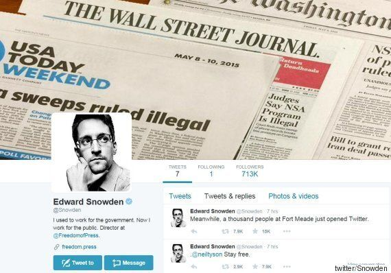 에드워드 스노든, 트위터 계정