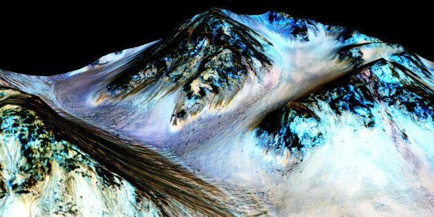This undated photo provided by NASA and taken by an instrument aboard the agency's Mars Reconnaissance...