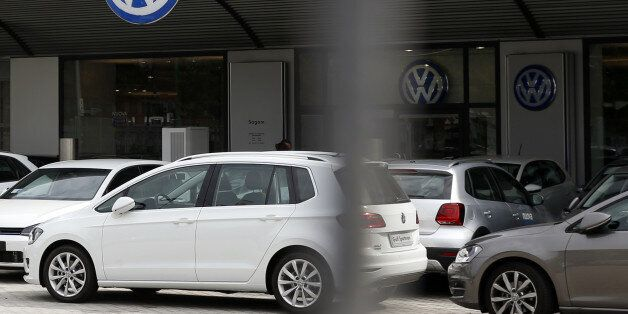 Cars are parked in a Volkswagen dealer in Milan, Italy, Sunday, Sept. 27, 2015. German media report that...