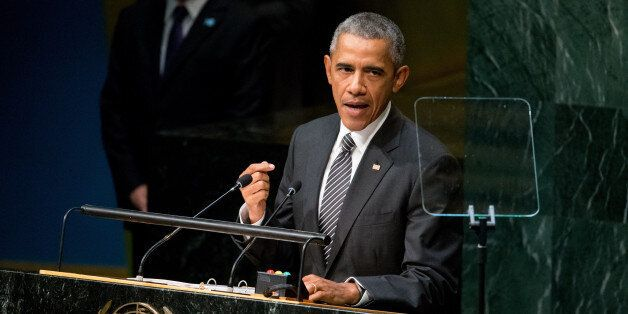 President Barack Obama speaks at the United Nations Sustainable Development Summit, Sunday, Sept. 27,...
