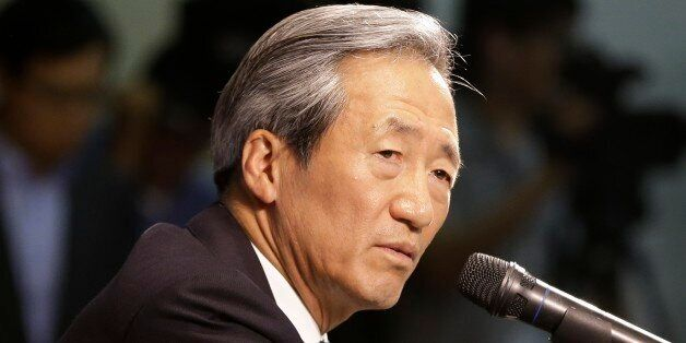 Former FIFA Vice President Chung Mong-joon speaks during a press conference in Seoul, South Korea, Wednesday,...