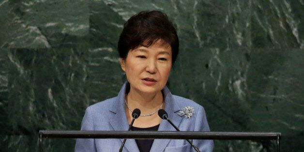 South Korea's President Park Geun-hye addresses the 70th session of the United Nations General Assembly,...