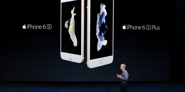 Apple CEO Tim Cook discusses the new iPhone 6s and iPhone 6s Plus during the Apple event at the Bill...