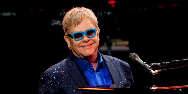 Sir Elton John and his band, during his performance at Royal Theatre in Madrid, Spain. Monday, July 20,...